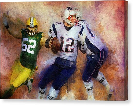 Clay Matthews Canvas Print - Green Bay Packers Against New England Patriots. by Anna J Davis
