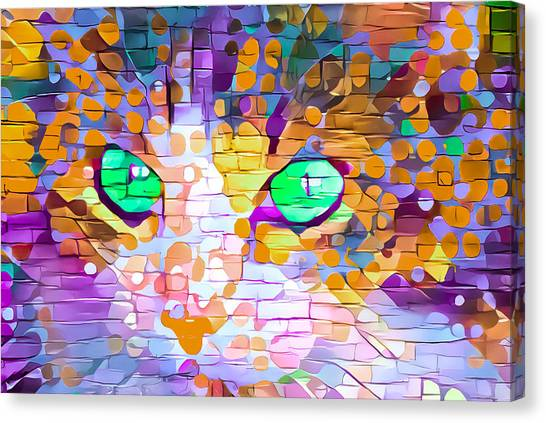 Green Eyed Cat Abstract Canvas Print
