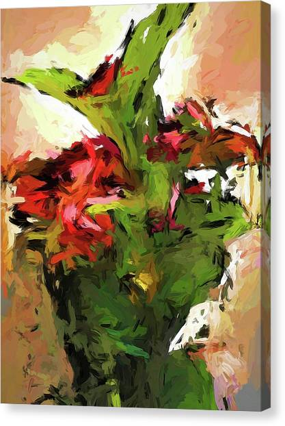 Green Leaves And The Red Flower Canvas Print