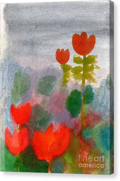 Nature Canvas Print - Green Life. Nature. Flowers. Red by Diana Lapshina