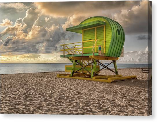 Canvas Print featuring the photograph Green Lifeguard Stand by Alison Frank