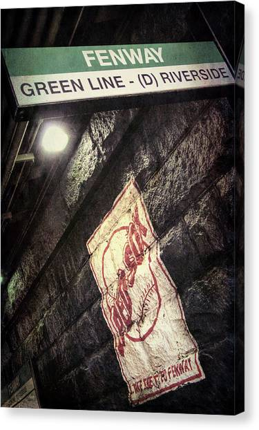Canvas Print featuring the photograph Green Line Boston T Stop At Fenway Park by Joann Vitali