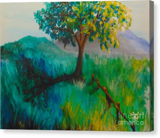 Canvas Print featuring the painting Green Pastures by Saundra Johnson