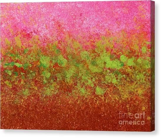 Greenery With Pink - Art By Cori Canvas Print