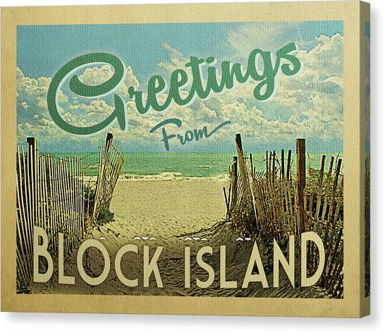 Block Canvas Print - Greetings From Block Island Beach by Flo Karp