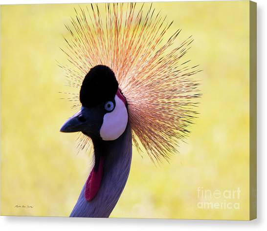 Canvas Print featuring the painting Grey Crowned Crane Gulf Shores Bl A101218 by Mas Art Studio