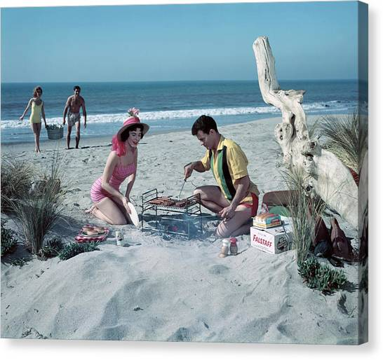 Grilling On The Beach Canvas Print