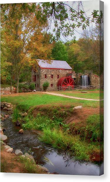Canvas Print featuring the photograph Grist Mill In Fall by Joann Vitali