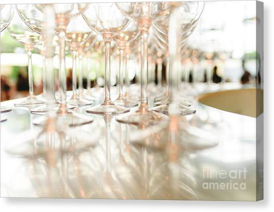 Group Of Empty Transparent Glasses Ready For A Party In A Bar. Canvas Print