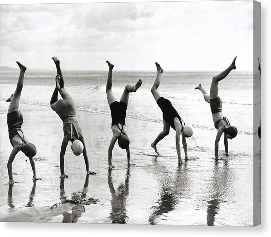 Group Of People Doing Handstands On Canvas Print