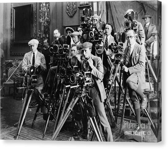Indoors Canvas Print - Group Of Photographers Taking Picture by Everett Collection