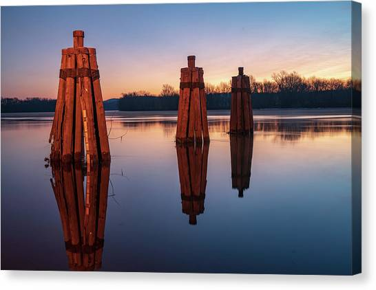 Group Of Three Docking Piles On Connecticut River Canvas Print