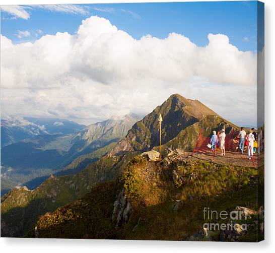 Mountain Climbing Canvas Print - Group Of Tourists On Mountain Top In by Olesya Turchuk