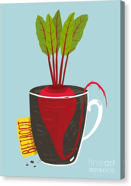 Ingredient Canvas Print - Growing Beetroot With Green Leafy Top by Popmarleo