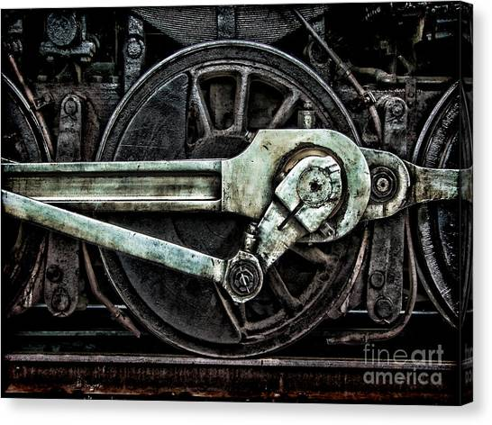 Old Train Canvas Print - Grunge Old Steam Locomotive Wheel And by Olivier Le Queinec
