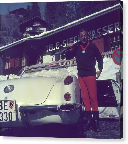 Gstaad Skier Canvas Print by Slim Aarons
