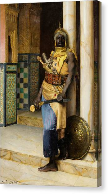 Emir Canvas Print - Guarding The Palace by Ludwig Deutsch
