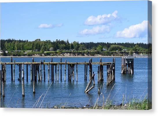Guemes Island And Old Pier Canvas Print