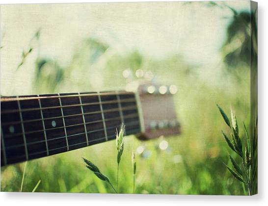Guitar In Country Meadow Canvas Print by Images By Victoria J Baxter