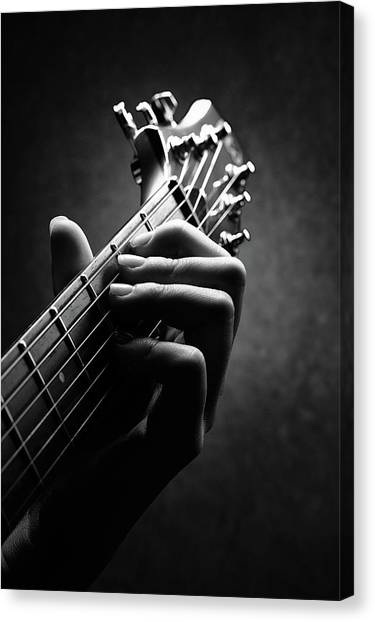 Hands Canvas Print - Guitarist Hand Close-up by Johan Swanepoel