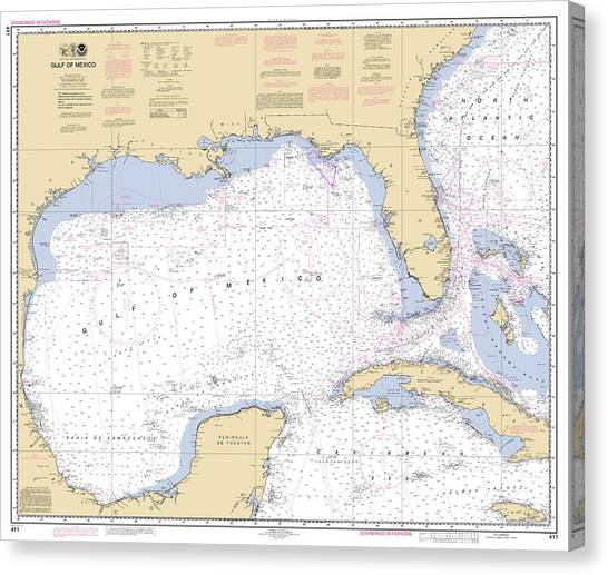 Gulf Of Mexico, Noaa Chart 411 Canvas Print