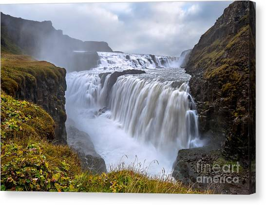 Stunning Canvas Print - Gullfoss. Waterfall Located In The by Thomas Lusth