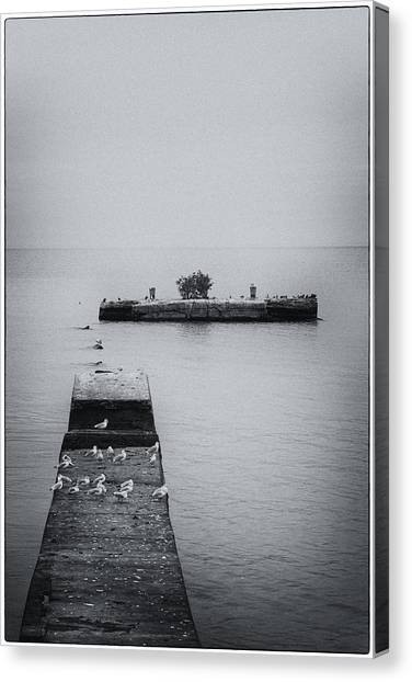 Canvas Print featuring the photograph Gulls On The Pier by Guy Whiteley