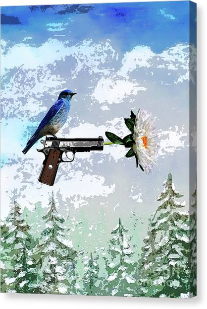 Bluebird Of Happiness- Flower In A Gun Canvas Print