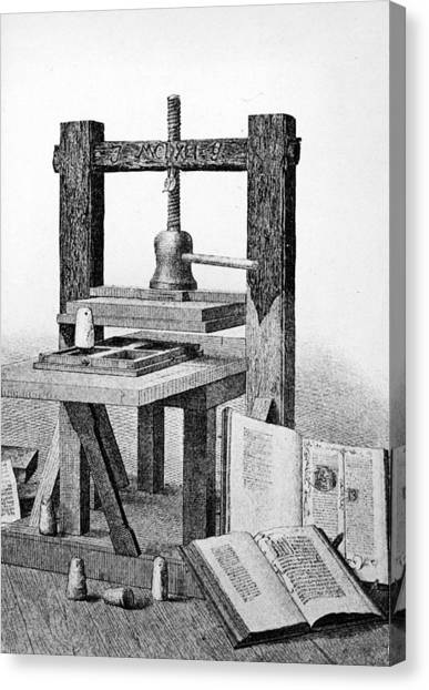 Printmaking Canvas Print - Gutenberg Printing Press by Authenticated News