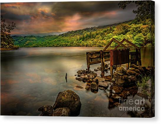 June Lake Canvas Print - Gwynant Lake Old Boat House by Adrian Evans