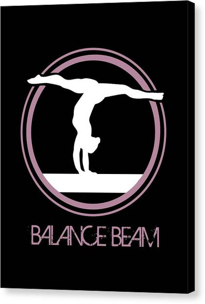 Balance Beam Canvas Print - Gymnast Girl Standing On Hands On Balance Beam by Daniel Ghioldi