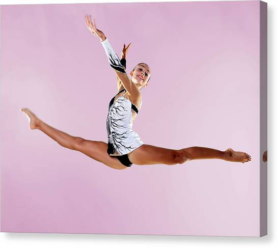 Gymnast, Split, Mid Air, Black And Canvas Print by Emma Innocenti