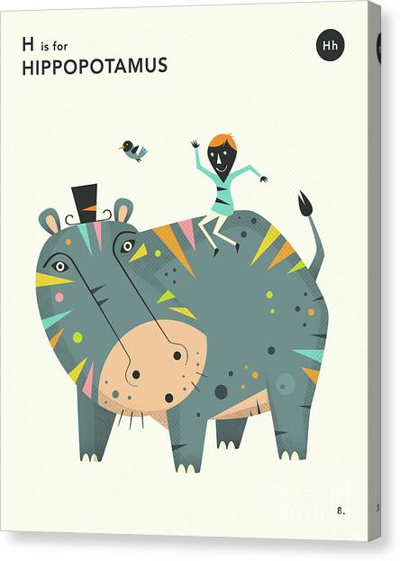 Hippos Canvas Print - H Is For Hippopotamus 2 by Jazzberry Blue