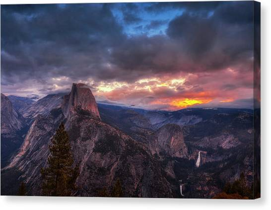 Magenta Canvas Print - Half Dome At Sunset by Andrew Soundarajan