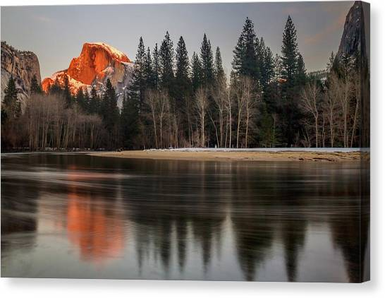 Half Dome Sunset In Winter Canvas Print