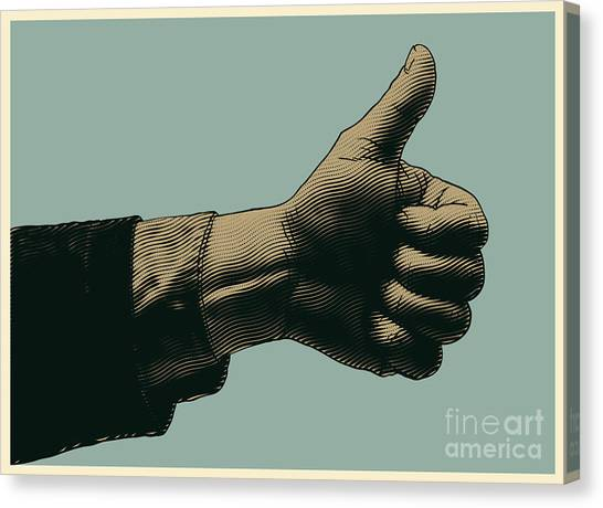 Ok Canvas Print - Halftone Thumbs Up Symbol. Engraved by Jumpingsack