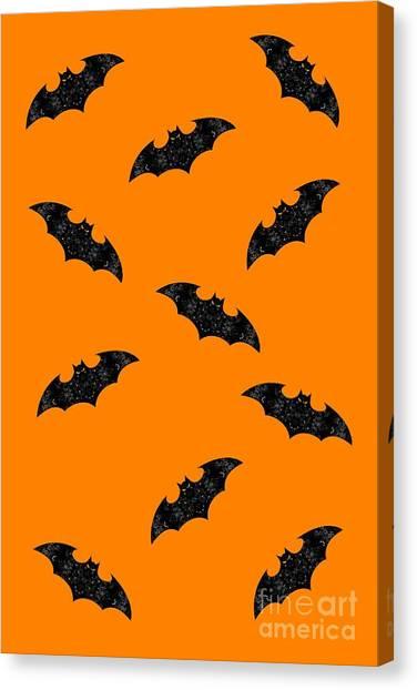 Canvas Print featuring the mixed media Halloween Bats In Flight by Rachel Hannah