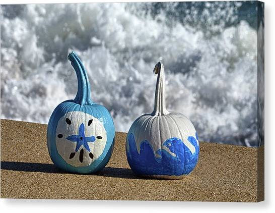 Canvas Print featuring the photograph Halloween Blue And White Pumpkins On The Beach by Bill Swartwout Fine Art Photography