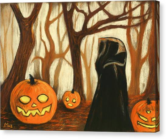 Canvas Print featuring the painting Halloween Forest by Anastasiya Malakhova
