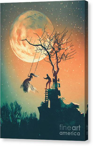 Acrylic Canvas Print - Halloween Night Background With Man by Tithi Luadthong