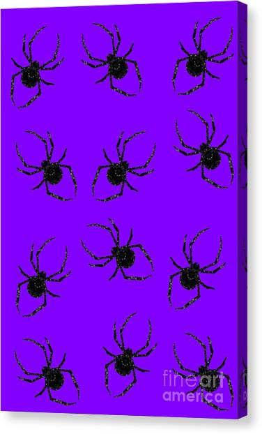 Canvas Print featuring the mixed media Halloween Spiders Creeping by Rachel Hannah