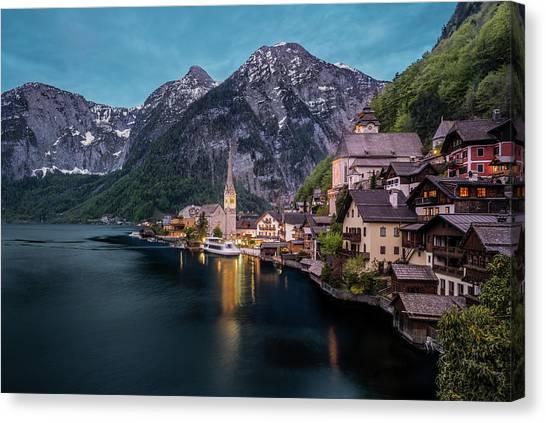 Hallstatt Village At Dusk, Austria Canvas Print