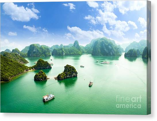 View Canvas Print - Halong Bay In Vietnam. Unesco World by Junphoto