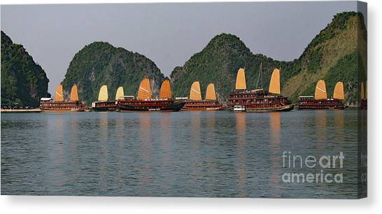 Canvas Print featuring the photograph Halong Bay--waiting For Sunrise by PJ Boylan