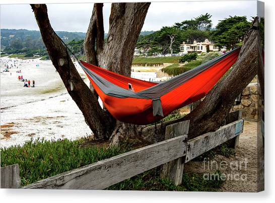 Hammock By The Sea Canvas Print