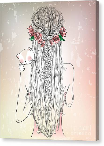Imagery Canvas Print - Hand Drawn Beautiful Cute Young Girl by Oksana Lysak