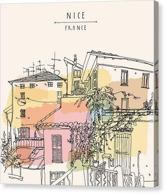 Rural Canvas Print - Hand Drawn Illustration Of Multicolored by Babayuka