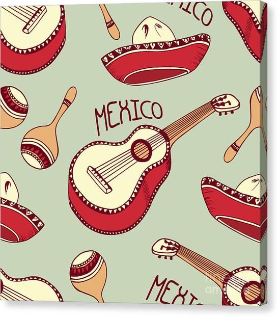 Mexico Canvas Print - Hand Drawn Mexican Seamless Pattern by Zhemchuzhina
