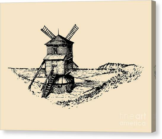 Engraving Canvas Print - Hand Drawn Sketch Of Rustic Windmill At by Vlada Young