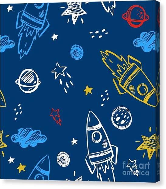 Hand Drawn Space Background Canvas Print by Nadezda Barkova